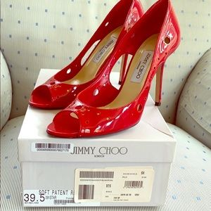 Jimmy Choo Patent Red open toe heels in size 39.5